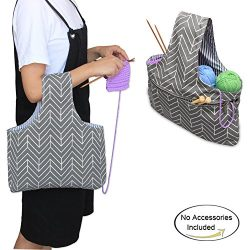 "Teamoy Knitting Tote Bag(L12.2""×W7.5""), Travel Canvas Project Wrist Bag for knitting ..."