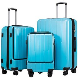 Coolife Luggage Expandable Suitcase 3 Piece Set ABS+PC TSA Lock with Computer Pocket (Sky Blue new)