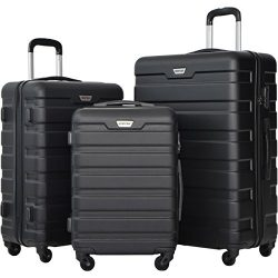 Merax Luggage Set 3 Piece Lightweight Spinner Suitcase (Black)