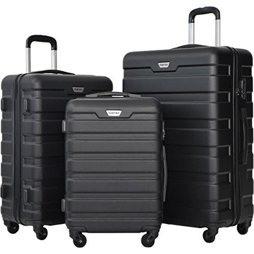 Merax Luggage Set 3 Piece Lightweight Spinner Suitcase (Black)