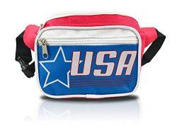 nineteen80something USA Fanny Pack/Patriotic Waist Bag/Hip Fashionable (American Flag Retro Red)