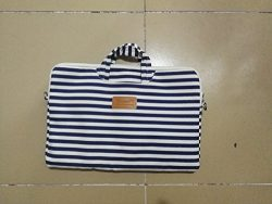 Canvaslife Breton Stripe Pattern 15 inch Waterproof Laptop Shoulder Messenger Bag Case With Rebo ...