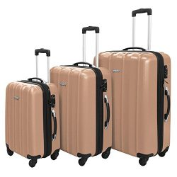 3 PC Luggage Set Durable Lightweight Hard Case Spinner Suitecase LUG3 SK541 CHAMPAGNE