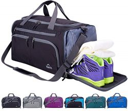 Venture Pal Packable Sports Gym Bag with Wet Pocket & Shoes Compartment Travel Duffel Bag fo ...