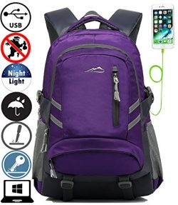 Backpack Bookbag For School College Student Travel Business With USB Charging Port Water Resista ...