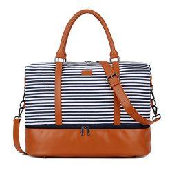 BAOSHA HB-28 Ladies Women Canvas Travel Weekender Overnight Carry-on Shoulder Duffel Tote Bag Wi ...