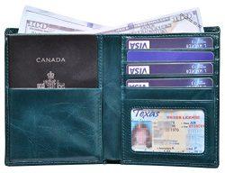 Outrip Genuine Leather Passport Wallet RFID Blocking Travel Card/Passport Holder (Teal)