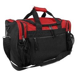 DALIX 17″ Duffle Travel Bag with Dual Front Mesh Pockets in Red