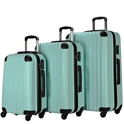 Resena 3 Pieces Carry On Luggage Sets Spinner Wheel Suitcases 20in24in28in (Green)