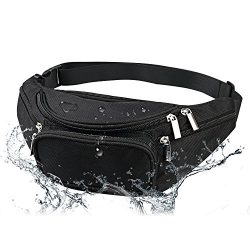 Men's Waterproof Black Fanny Pack Adjustable Buckle Hip Waist Pack 6 Zippers 5 Pockets Bum ...