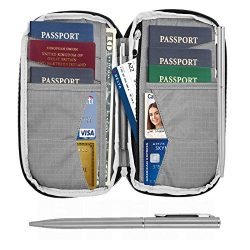 Travel Wallet & Family Passport Holder RFID Blocking Document Holder & Organizer Case &# ...