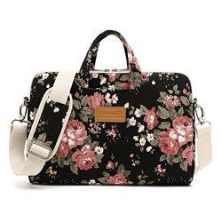 Canvaslife Black Chinese Rose Patten Waterproof Laptop Shoulder Messenger Bag Case Sleeve for 12 ...