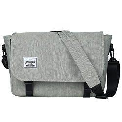 GOHIGH Vintage Canvas Messenger Bag Casual Shoulder Bag Waterproof School Bag/Gray