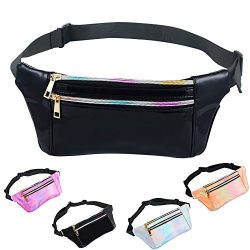 iAbler Holographic Fanny Pack for Women and Men Metallic 80s Waterproof Shiny Fanny Packs with A ...
