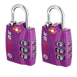 Forge TSA Lock Purple 2 Pack – Open Alert Indicator, Easy Read Dials, Alloy Body