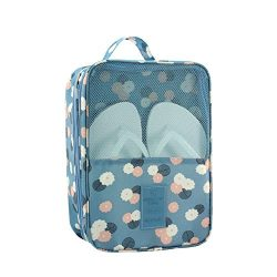 HaloVa Shoe Bag, Waterproof Portable Storage Organizer Bag, Blue Flower