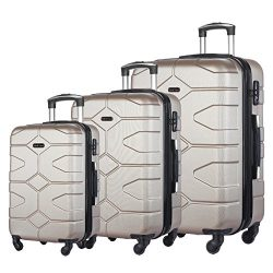 3 PC Luggage Set Durable Lightweight Hard Case Spinner Suitecase LUG3 LY09 CHAMPAGNE
