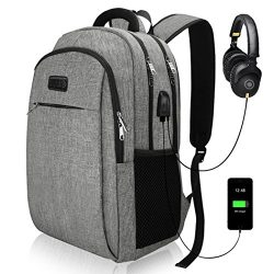 Travel Laptop Backpack, Business Laptop Backpacks with USB Charging Port and Headphone Interface ...