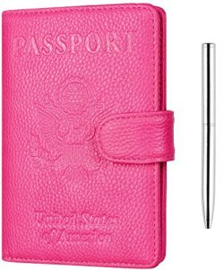 NapaWalli Leather Passport Holder Wallet Cover Case RFID Blocking Travel Wallet (lychee rose red ...