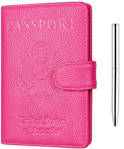 NapaWalli Leather Passport Holder Wallet Cover Case RFID Blocking Travel Wallet (lychee rose red ...