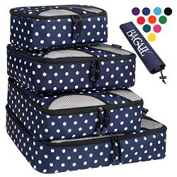 4 Set Packing Cubes,Travel Luggage Packing Organizers with Laundry Bag Navy Dot