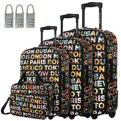 Womens Designer Softside Luggage Sets Light Weight Travel Suitcases for Girls