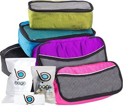 5 Packing Cubes For Travel Luggage or Suitcase + 6 Toiletry Zip Bags Organizers (Black, Blue, Pu ...