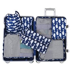 Belsmi 7 Set Packing Cubes With Shoe Bag – Compression Travel Luggage Organizer (Nylon 290 ...