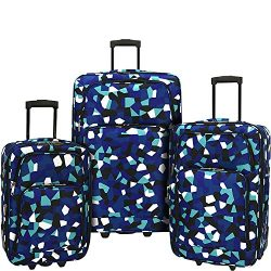 Elite Luggage Print 3 Piece Expandable Rolling Luggage Set (Blue Geo)