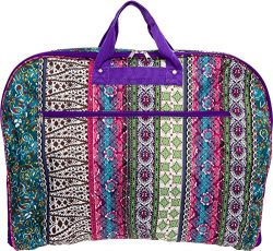 40″ Womens Hanging Garment Bag (Multicolor Boho w/ Purple Trim)