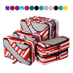 6 Set Packing Cubes,3 Various Sizes Travel Luggage Packing Organizers (US Flag)