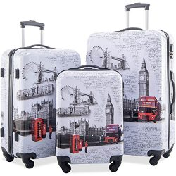 Merax Graphic Print Luggage Set 3 Piece ABS + PC Spinner Travel Suitcase (London)
