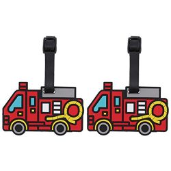 Firetruck Themed Luggage Tag Travel ID for Suitcases – Set of 2