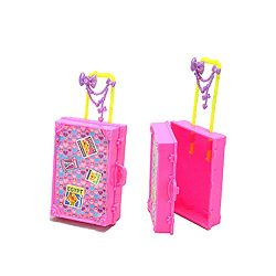 Floralby Dollhouse Furniture Miniature Travel Suitcase for Barbie Bedroom Kids Pretend Play Toy