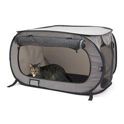 SportPet Designs Large Pop Open Kennel, Portable Cat Cage Kennel, Waterproof Pet bed, Carrier Co ...