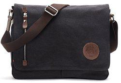 Canvas Satchel Messenger Bag By Magictodoor 13.5″ Laptop Bag (8501 Black)