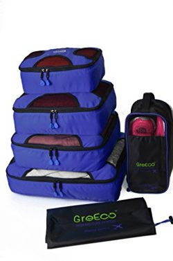 GreEco 4 Pcs Packing Cubes Plus 1 Pc Laundry Bag and 1 Pc Shoe Bag Royal Blue