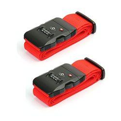 uxcell® TSA 3-dial Password Lock Travel Luggage Strap Adjustable Suitcase Baggage Bag Belt 5*200 ...