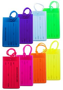 8 Packs Colorful Flexible Travel Luggage Tags for Baggage Bags/Suitcases – Name ID Labels  ...