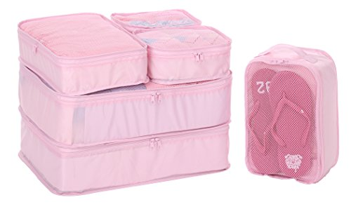 JJ POWER Lightweight Travel Packing Cubes 2017 Version –Multi function, Durable 6 Piece (Pink)