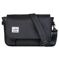 GOHIGH Vintage Canvas Messenger Bag Casual Shoulder Bag Waterproof School Bag/Black