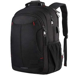 Backpack, Travel School Laptop Backpack for Women Men w/USB Charging Port, Mancro Slim Business  ...
