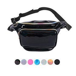 Holyami Fashion Holographic Fanny Pack Women Men-Waterproof Travel Waist Packs Bum Purse Bags Ra ...