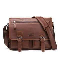 Contacts Real Leather Mens 12″ Laptop Messenger Crossbody Shoulder Travel Briefcase Bag (B ...