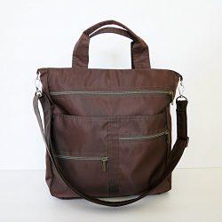 Virine dark brown water resistant laptop bag, cross body bag, messenger bag, purse, everyday bag ...