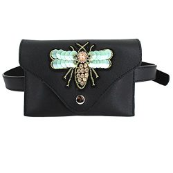 Fashion Women GIrls Elegant Leather Waist Bag Exquisite 3D Bee Embroidery Fanny Pack Cute Waist  ...