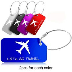 Pack of 10 Luggage Tags, Aluminum Travel ID Labels Tag w/Stainless Steel Loop for Baggage Suitca ...
