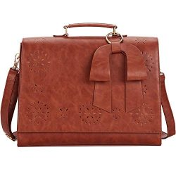 SOSATCHEL Women Leather Messenger Laptop Shoulder Bag Briefcase Satchel Purse Handbag Fit 15.6 i ...