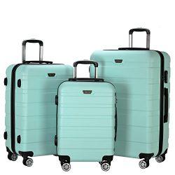 Resena Luggage 3 Piece Set Suitcase Spinner Hardshell Lightweight (Green)