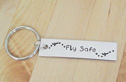 Fly Safe Keychain | Airplane Keychain | Flight Attendant Gifts | Hand Stamped Keychain | Gifts F ...